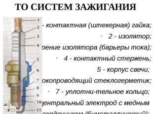 ТО СИСТЕМ ЗАЖИГАНИЯ 1 - контактная (штекерная) гайка; 2 - изолятор; 3 - оребр