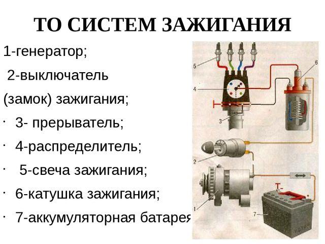 ТО СИСТЕМ ЗАЖИГАНИЯ 1-генератор; 2-выключатель (замок) зажигания; 3- прерыват...