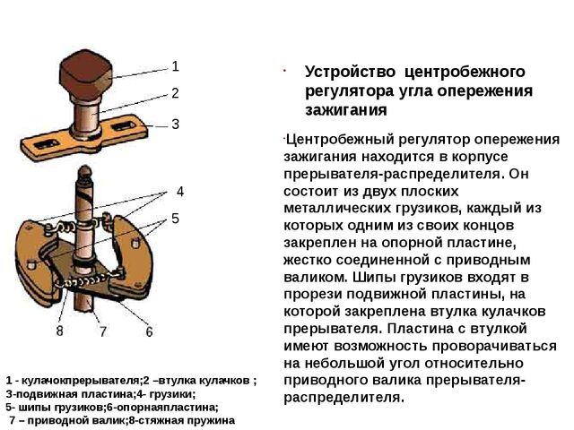 Устройство центробежного регулятора угла опережения зажигания Центробежный ре...