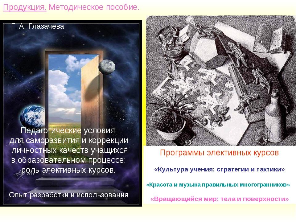 Продукция. Методическое пособие. Г. А. Глазачева Педагогические условия для с...