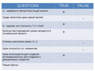 QUESTIONS TRUE FALSE Crсеребристо-белый блестящий металл + Среди металлов хр