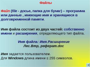 Имя файла состоит из двух частей: собственно имени и расширения, определяющег