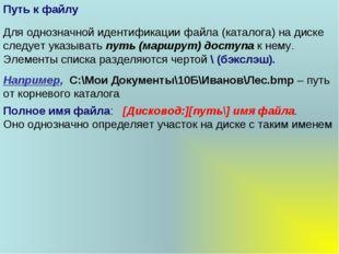 Полное имя файла: [Дисковод:][путь\] имя файла. Оно однозначно определяет уча