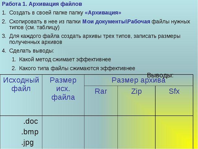 Работа 1. Архивация файлов Создать в своей папке папку «Архивация» Скопироват...