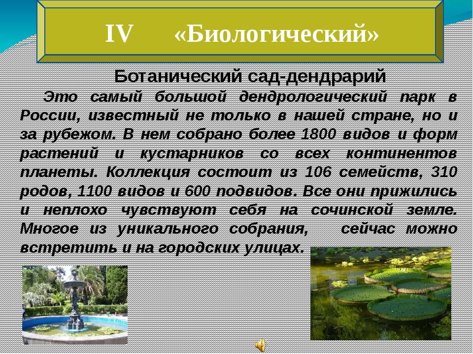 IV «Биологический» Ботанический сад-дендрарий Это самый большой дендрологиче...