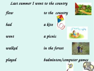 Last summer I went to the country flew had went walked played to the country