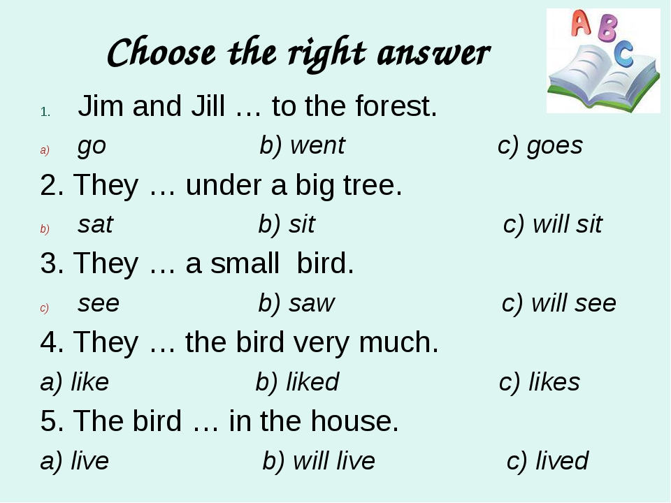 Choose the right answer Jim and Jill … to the forest. go b) went c) goes 2. T...