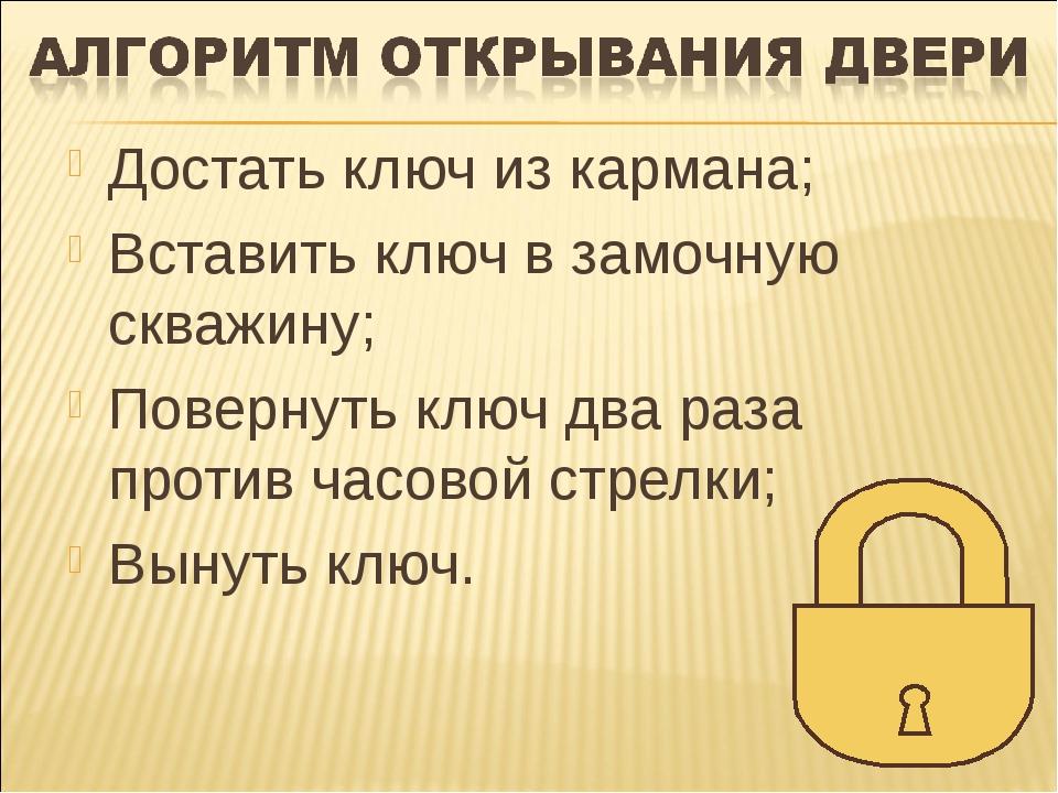 Достать ключ из кармана; Вставить ключ в замочную скважину; Повернуть ключ дв...