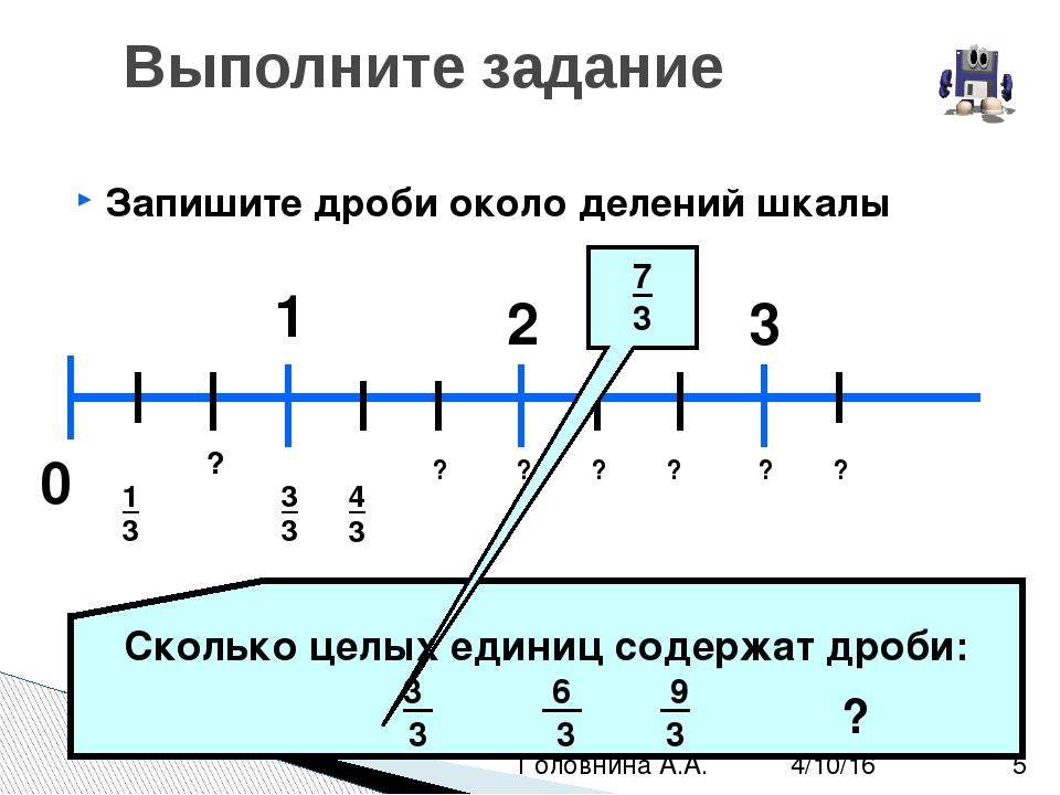 Запишите дроби около делений шкалы Выполните задание 0 1 2 3 1 ? 3 4 3 ? ? ?...