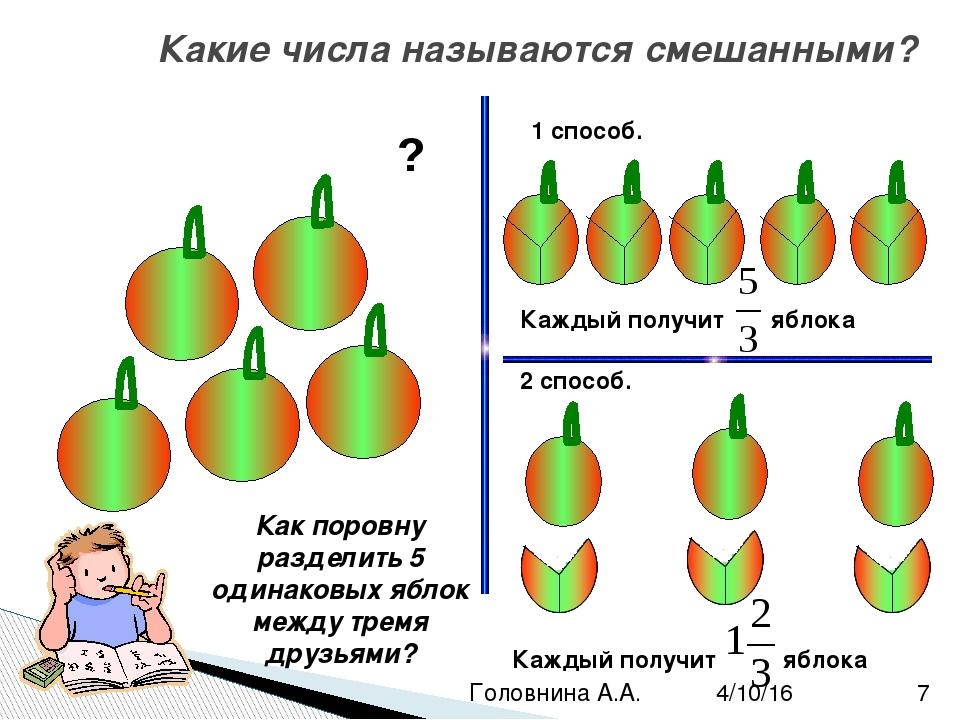 Запись смешанных дробей Каждый ребёнок получит одно и тоже количество яблок....
