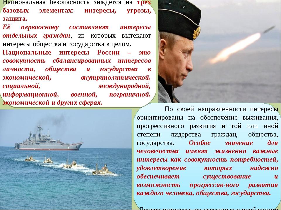 Национальная безопасность зиждется на трех базовых элементах: интересы, угроз...