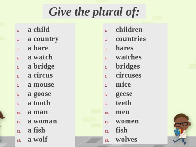 Give the plural of: a child a country a hare a watch a bridge a circus a mous...
