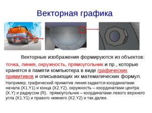 Векторная графика Векторные изображения формируются из объектов: точка, лини