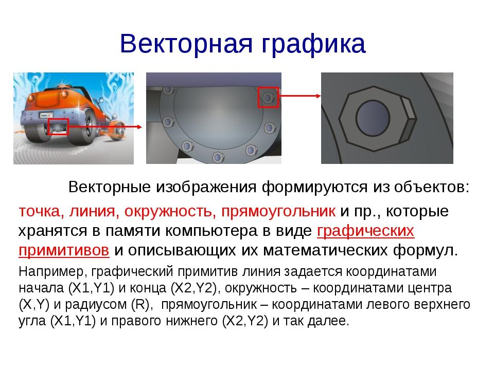 Векторная графика Векторные изображения формируются из объектов: точка, лини...