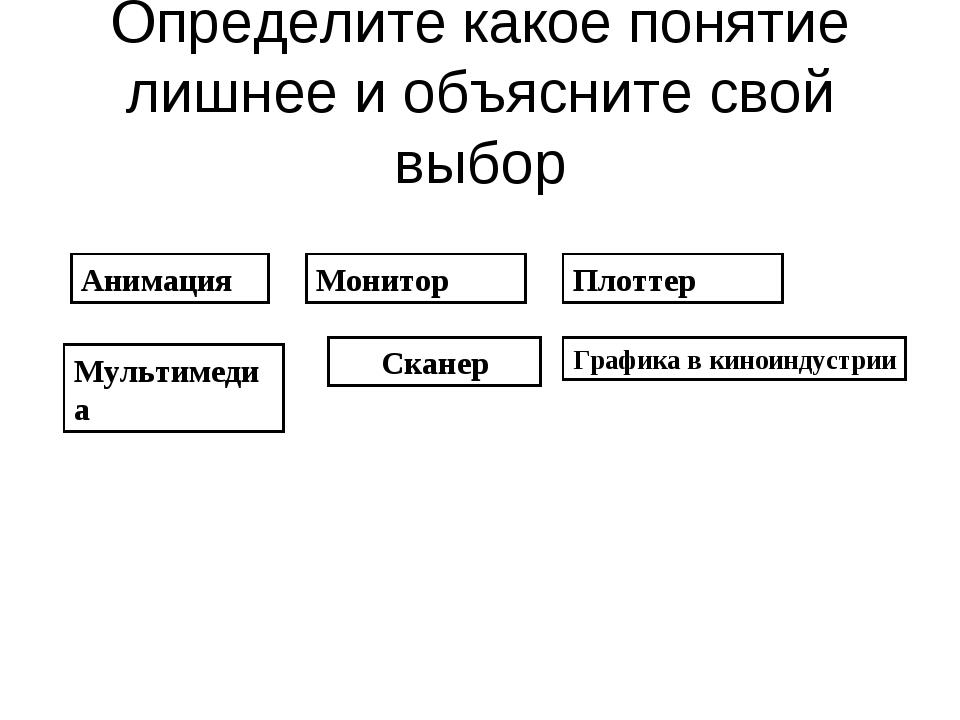 Определите какое понятие лишнее и объясните свой выбор Анимация Мультимедиа Г...