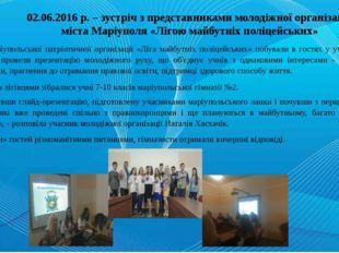 02.06.2016 р. – зустріч з представниками молодіжної організації міста Маріуп