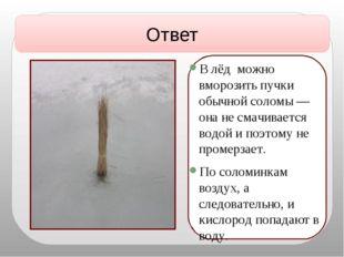 В лёд можно вморозить пучки обычной соломы — она не смачивается водой и поэт