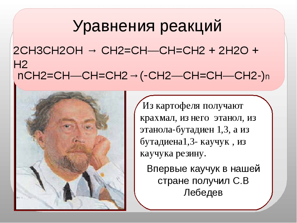 nCH2=CH—CH=CH2→(-CH2—CH=CH—CH2-)n 2CH3CH2OH → CH2=CH—CH=CH2 + 2H2O + H2 Урав...