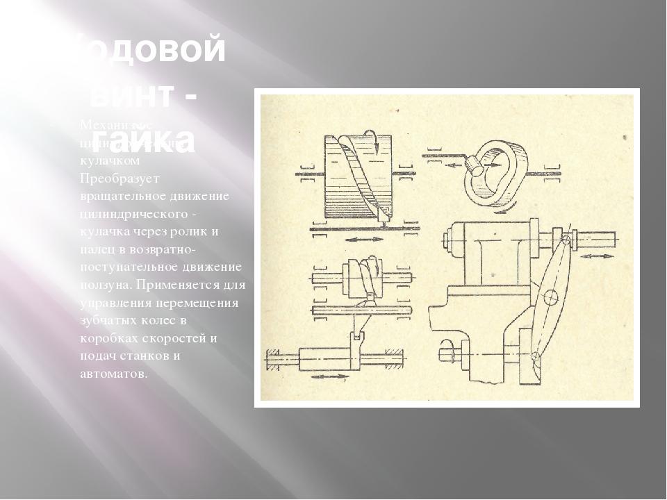 Ходовой винт - гайка Механизм с цилиндрическим кулачком Преобразует вращатель...