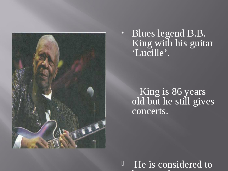 Blues legend B.B. King with his guitar 'Lucille'. King is 86 years old but h...