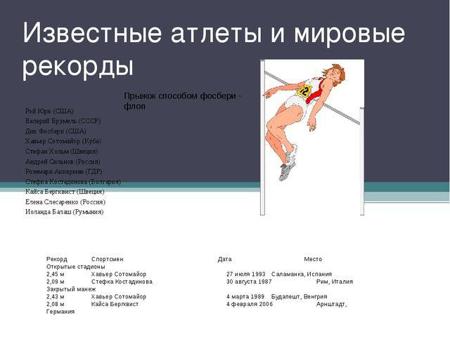Известные атлеты и мировые рекорды Рэй Юри (США) Валерий Брумель (СССР) Дик Ф...
