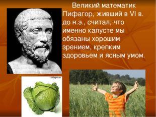 Великий математик Пифагор, живший в VI в. до н.э., считал, что именно капуст