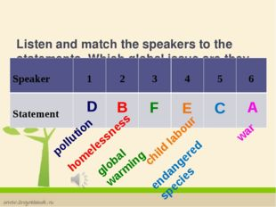Listen and match the speakers to the statements. Which global issue are they