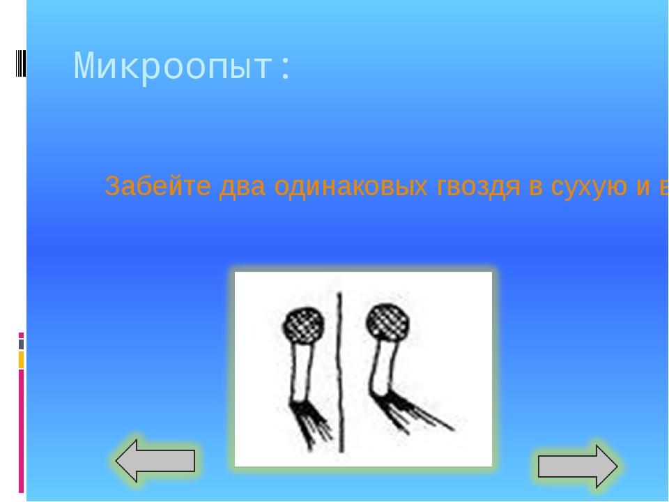Микроопыт: Забейте два одинаковых гвоздя в сухую и в набухшую доски. Сравнит...