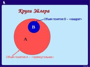 Круги Эйлера А В Объем понятия А – «прямоугольник» Объем понятия В – «квадрат
