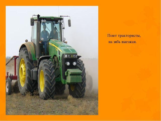 Поют трактористы, на зябь выезжая.