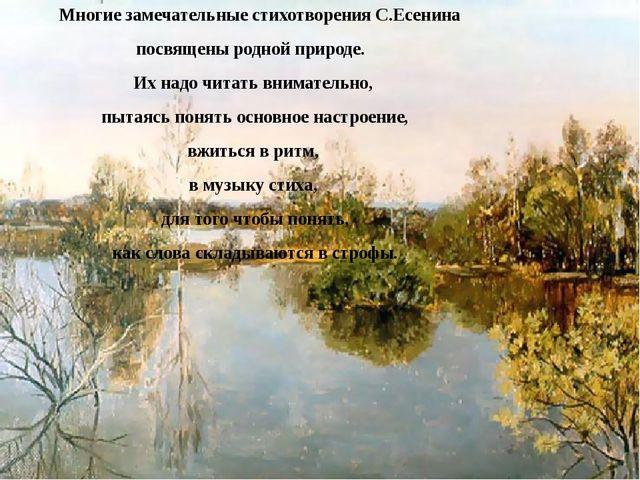 Многие замечательные стихотворения С.Есенина посвящены родной природе. Их на...