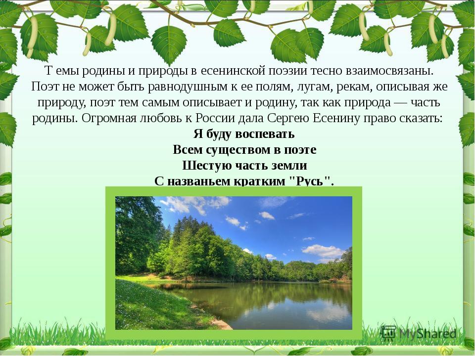 Т емы родины и природы в есенинской поэзии тесно взаимосвязаны. Поэт не може...