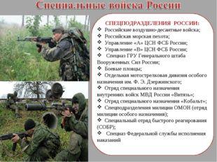 СПЕЦПОДРАЗДЕЛЕНИЯ РОССИИ: Российские воздушно-десантные войска; Российская м