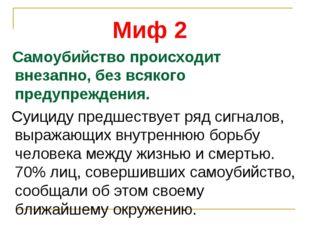 Миф 2 Самоубийство происходит внезапно, без всякого предупреждения. Суициду п