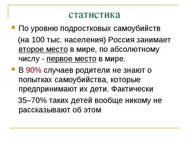 статистика По уровню подростковых самоубийств (на 100 тыс. населения) Россия...