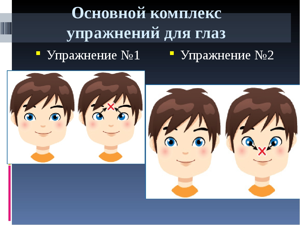 Основной комплекс упражнений для глаз Упражнение №1 Упражнение №2