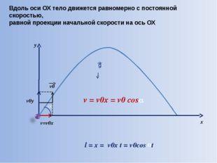 y x Вдоль оси ОХ тело движется равномерно с постоянной скоростью, равной про