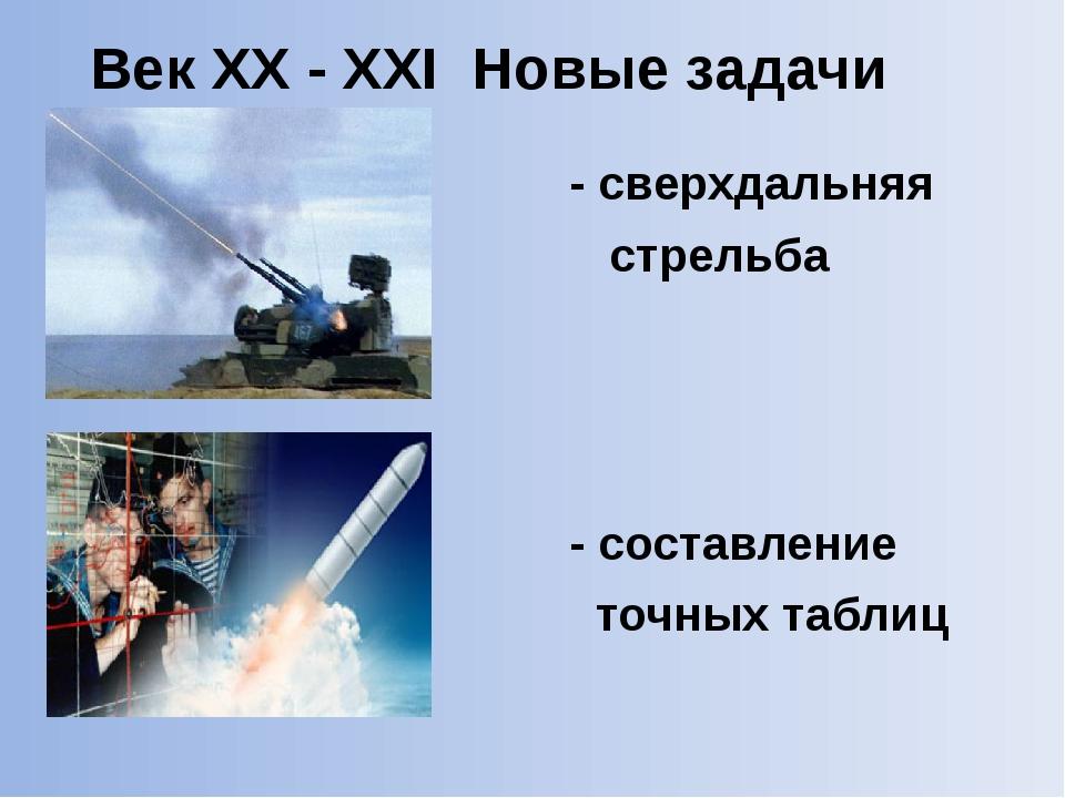 - сверхдальняя стрельба - составление точных таблиц Век XX - XXI Новые задач...