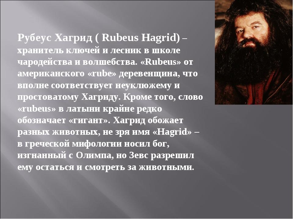 Рубеус Хагрид ( Rubeus Hagrid) – хранитель ключей и лесник в школе чародейст...
