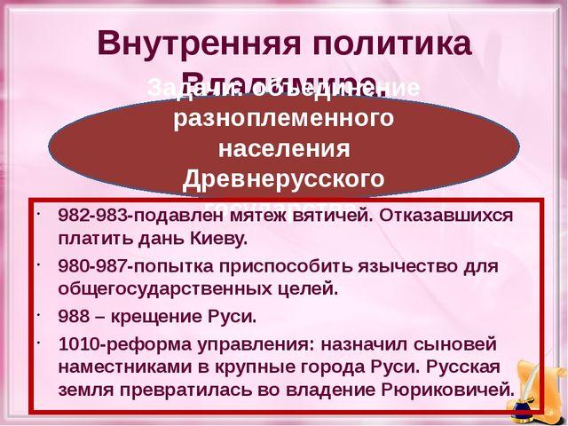 Внутренняя политика Владимира. Задачи: объединение разноплеменного населения...