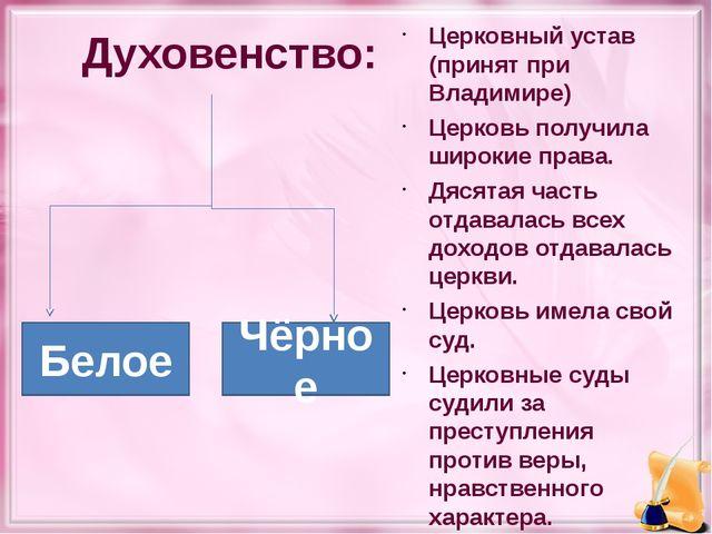 Духовенство: Церковный устав (принят при Владимире) Церковь получила широкие...
