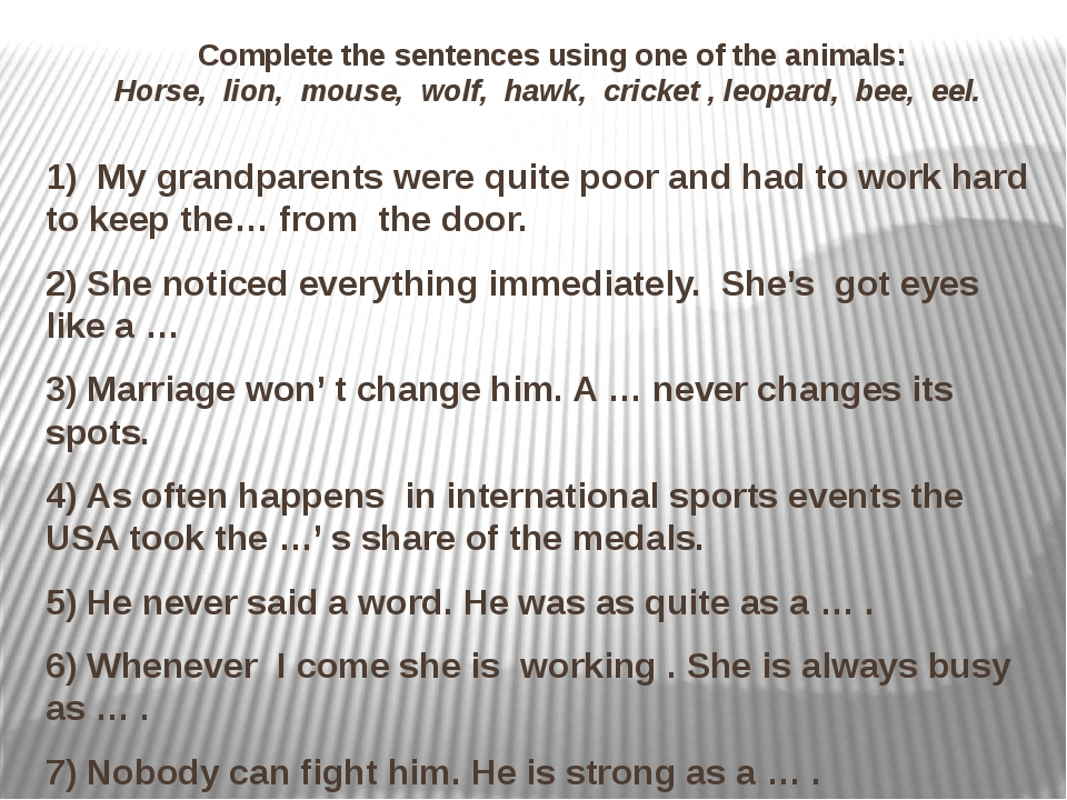 Complete the sentences using one of the animals: Horse, lion, mouse, wolf, h...