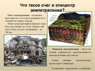 Что такое очаг и эпицентр землетрясения? Эпицентр землетрясения – место на зе