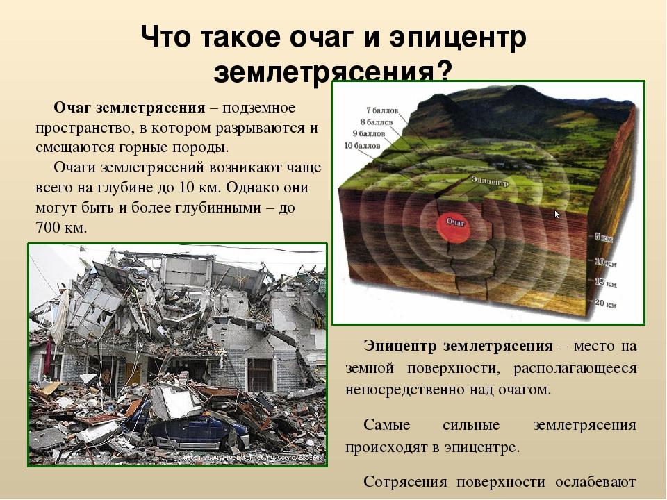Что такое очаг и эпицентр землетрясения? Эпицентр землетрясения – место на зе...
