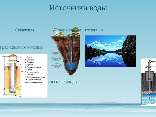 Источники воды СкважиныПоверхностные источники Традиционные колодцы...