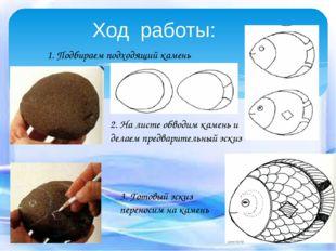 Ход работы: 1. Подбираем подходящий камень 2. На листе обводим камень и делае