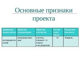 Основные признаки проекта Доминиру-ющий методХарактер координацииХарактер к