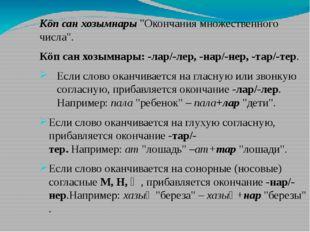 """Кöпсанхозымнары""""Окончания множественного числа"""". Кöпсанхозымнары:-лар/-"""