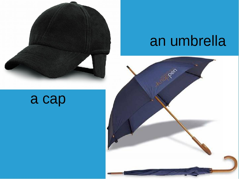 a cap an umbrella