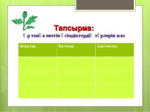 Тапсырма: Әр топқа енетін өсімдіктердің түрлерін жаз АғаштарБұталарШөптекте